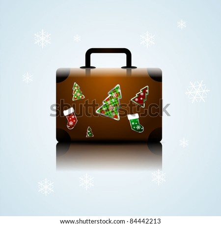 Vector suitcase with stickers. Christmas vacation concept - stock vector