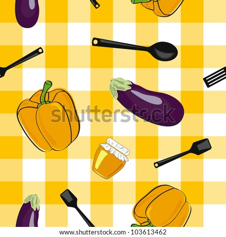Vector summer background with  vegetables, seamless pattern - stock vector