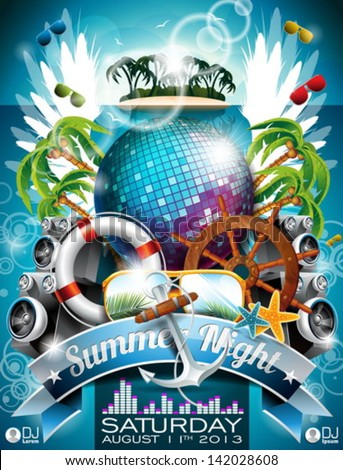 Vector Summer Beach Party Flyer Design Stock 142028608