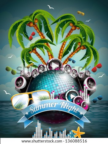 Vector Summer Beach Party Flyer Design with disco ball and speakers on tropical sea background. Eps10 illustration. - stock vector