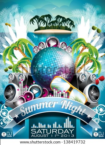 Vector Summer Beach Party Flyer Design with disco ball and sunglasses on abstract tropical background. Eps10 illustration. - stock vector