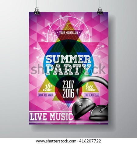 Vector Summer Beach Party Flyer Design with headphone and typographic elements on abstract background. Eps10 illustration. - stock vector