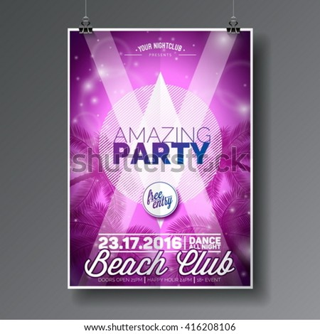 Vector Summer Beach Party Flyer Design with typographic elements on abstract palm background. Eps10 illustration. - stock vector