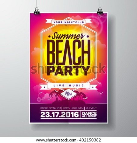 Vector Summer Beach Party Flyer Design with typographic elements on ocean landscape background. Eps10 illustration. - stock vector