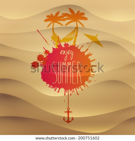 Vector summer beach sand illustration with hammock and palm trees - stock vector