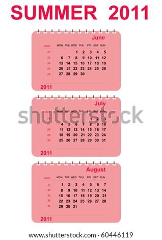 vector summer calendar 2011 - stock vector