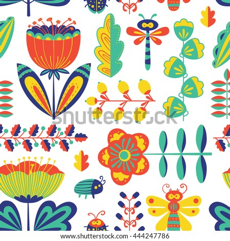 Vector summer decorative floral seamless pattern with bugs and dragonfly in cartoon style - stock vector