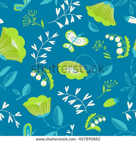 Vector summer decorative seamless background with flowers, bugs and butterfly in cartoon style - stock vector