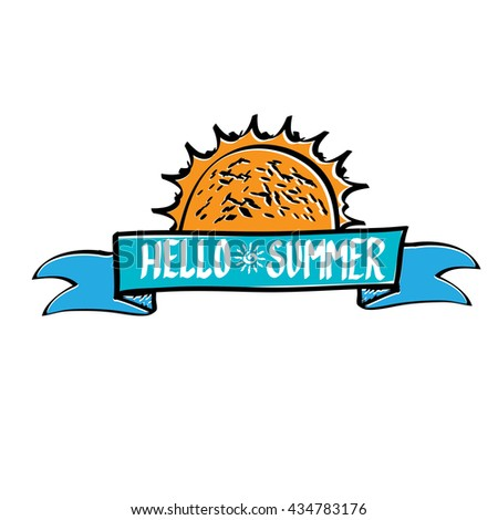 Vector summer fun background.  Vector hand lettering typography poster hello summer.