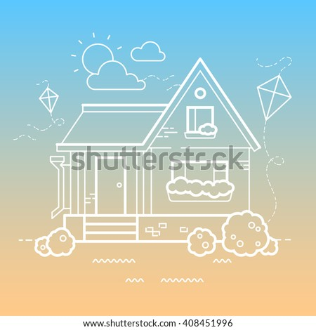 Vector summer house and kite. Sunny day. Outline illustration.