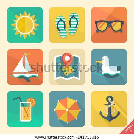 Vector summer icons. Flat design trend. Retro color. - stock vector