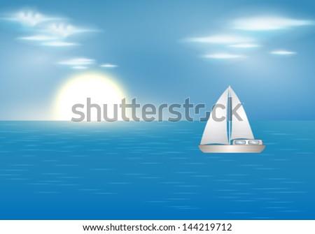 Vector summer illustration of beautiful blue ocean with sailing boat
