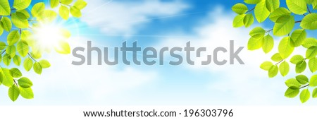 Vector summer illustration with green leaves against the sky and clouds - stock vector