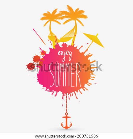 Vector summer illustration with hammock and palm trees - stock vector