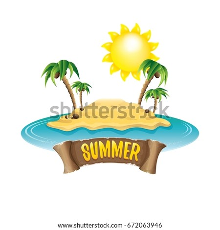 vector summer label with island tropical beach, sun, palm trees, clouds and vintage ribbon for text. summer fun vector design elements set isolated on white background