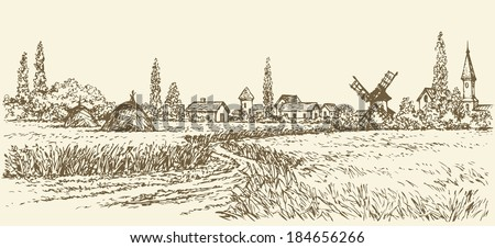 Vector summer landscape. A dirt path through fields of wheat to the old windmill near the village  - stock vector