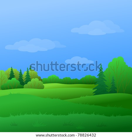 Vector, summer landscape: forest with green trees and the blue sky with white clouds - stock vector
