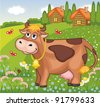 Vector summer landscape with cow - stock vector