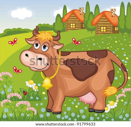 Vector summer landscape with cow