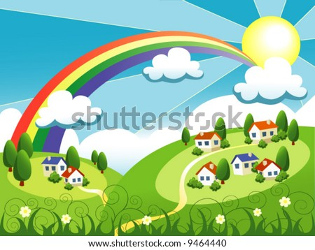 vector summer landscape with cute little houses and rainbow - stock vector