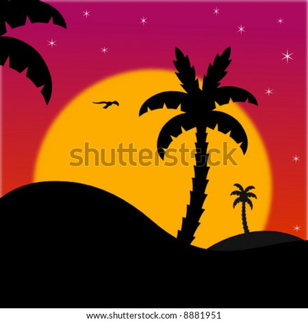 vector summer night scene