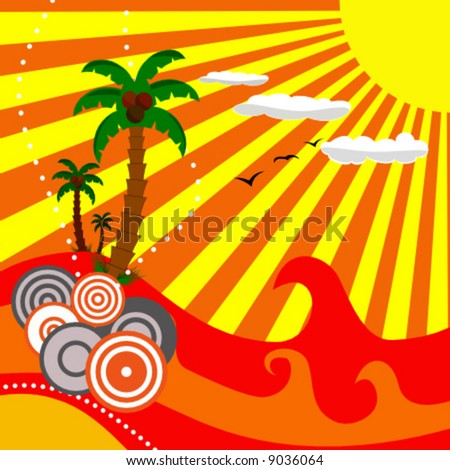 vector summer paradise scene - stock vector