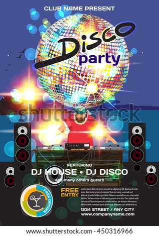 Vector summer party invitation disco style. Night beach, dj, discoball template posters or flyers.