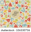Vector summer pattern / background with the sun and summer icons - stock vector