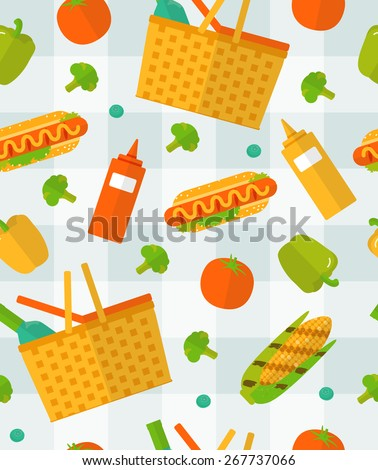 Vector summer picnic pattern. Colorful seamless pattern on checkered tablecloth. Vegetable, food background. Spring barbecue party items. Kitchen pattern. - stock vector