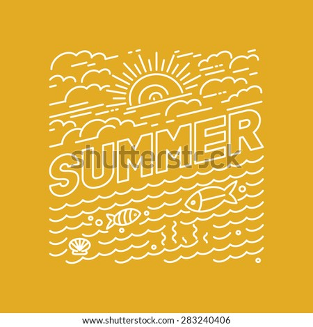 Vector summer poster and banner design in trendy linear style - lettering and icons - stock vector