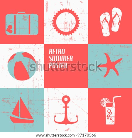 Vector summer poster made from icons - retro blue and red version - stock vector