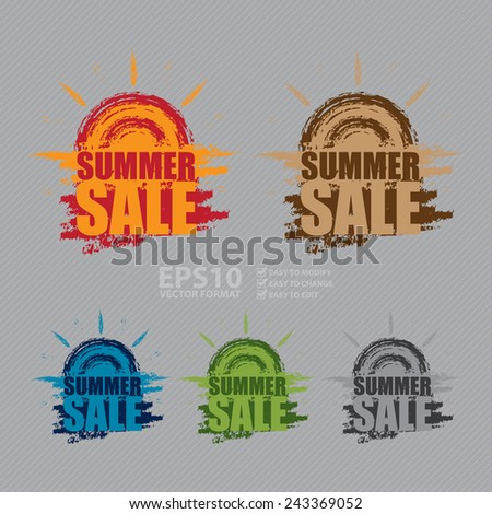 Vector : Summer Sale Banner, Sticker, Icon or Label - stock vector