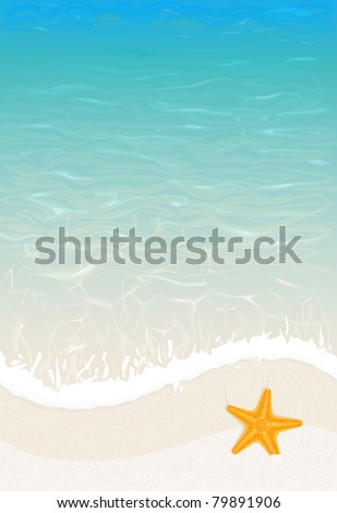 vector summer sea wave background with starfish - stock vector