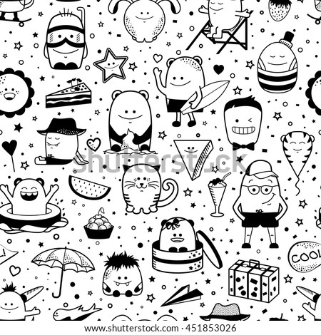 Vector summer seamless pattern with funny monsters, personage. Cool black and white hand drawn characters. Cartoon animals, painted doodles, children's seamless background. Set of unusual creatures - stock vector