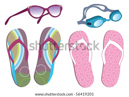 Vector summer shoes and sunglasses for vocation.