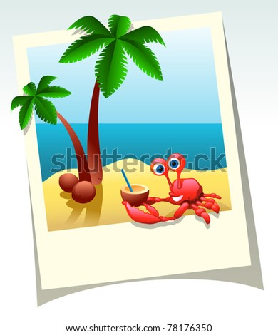 Vector summer shot of sea beach, palm trees, and crab with coconut cocktail - stock vector