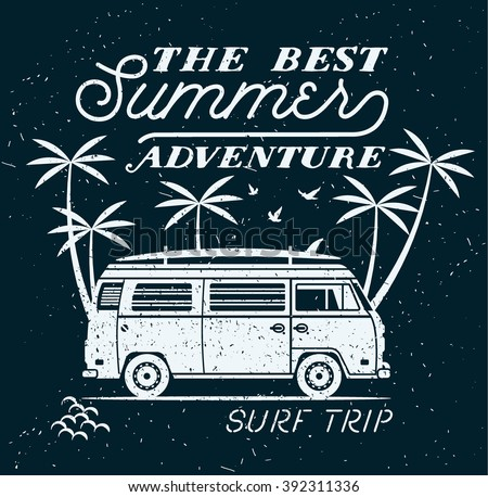 Vector Summer surfing retro badge. Beach surfer emblem , outdoors banner, vintage background. Boards, retro car. Surf icon design. For summer surf Logotype, label, party brochure. - stock vector