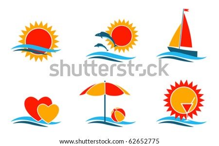 vector summer symbols collection on white background - stock vector