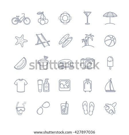 Vector summer thin line icons set for your design - stock vector