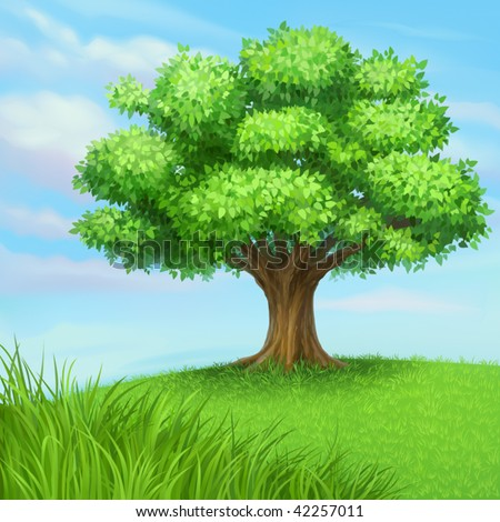 vector summer tree at green meadow - stock vector