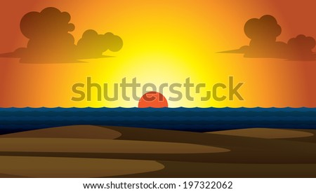 vector summer wallpaper sunset with clouds and beach in front