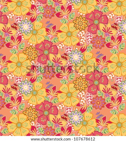 vector: summery floral pattern; good for fabric design - stock vector