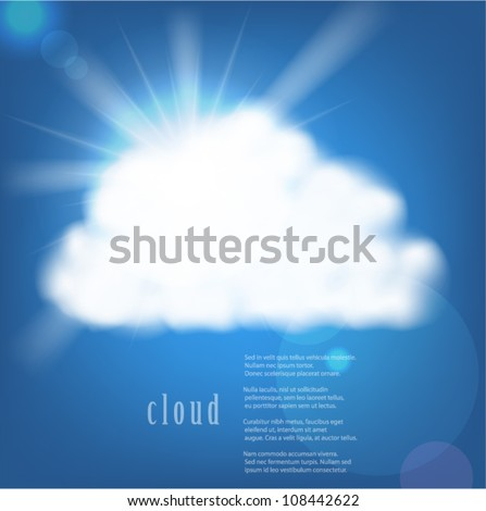 Vector sun and cloud on blue background - stock vector