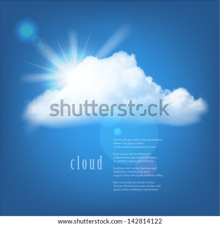 Vector sun and cloud on blue background with copy space.