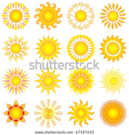 vector sun collection - stock vector
