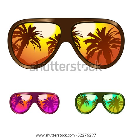 vector sun glasses with tropical beach reflection - stock vector