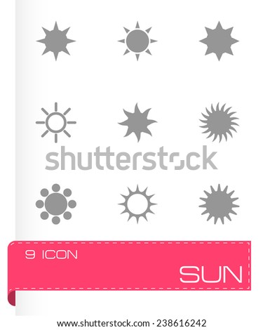 Vector sun icon set on grey background - stock vector