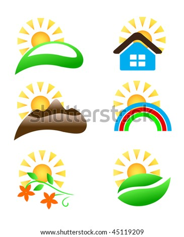 vector sun icons set