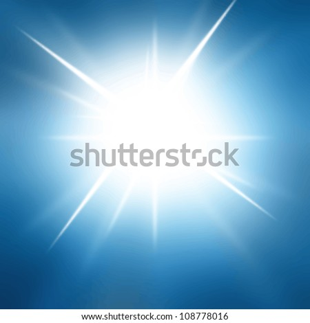 Vector sun in a bright blue sky - stock vector