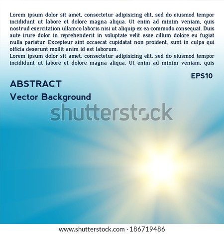 Vector sun on blue background with copy space. eps 10 - stock vector